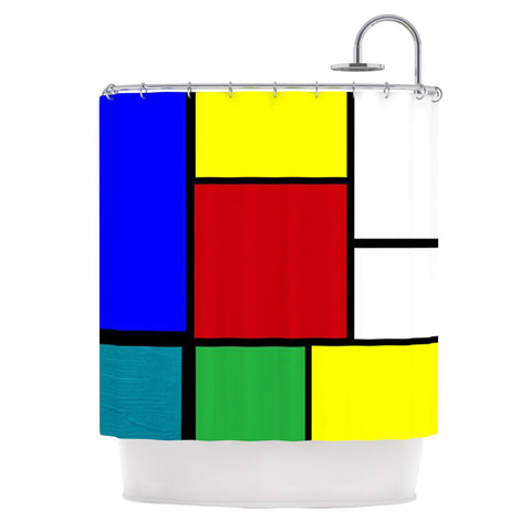 "Oriana Cordero ""Mondrian & Me"" Multicolor Squares Shower Curtain - KESS InHouse"