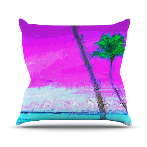 "Oriana Cordero ""Caribe S"" Pink Aqua Throw Pillow - KESS InHouse  - 1"