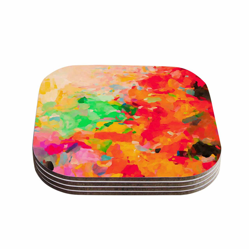 "Oriana Cordero ""La Rochelle-Abstract"" Red Multicolor Coasters (Set of 4)"