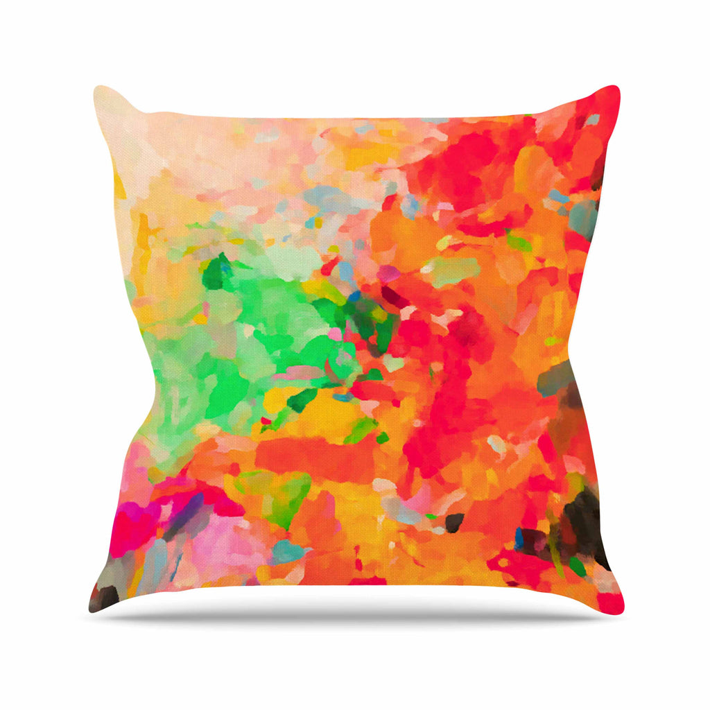 "Oriana Cordero ""La Rochelle-Abstract"" Red Multicolor Outdoor Throw Pillow - KESS InHouse  - 1"