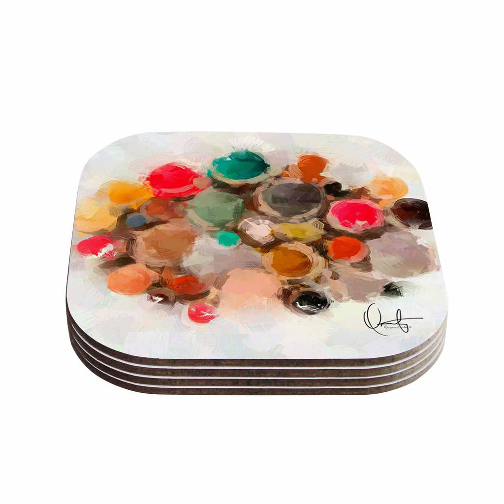 "Oriana Cordero ""La Maddalena"" Multicolor Abstract Coasters (Set of 4)"