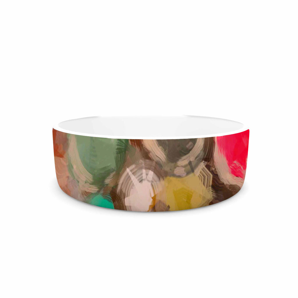 "Oriana Cordero ""La Maddalena"" Multicolor Abstract Pet Bowl - KESS InHouse"