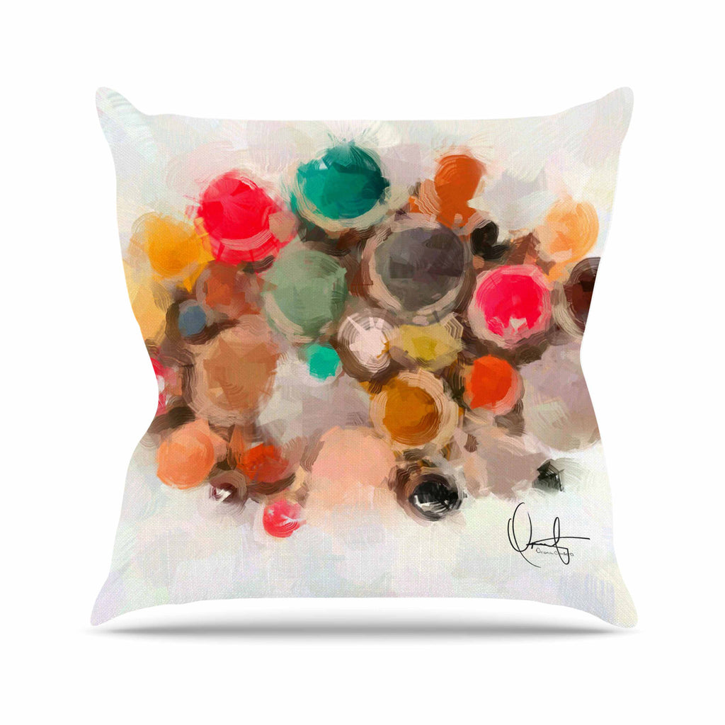 "Oriana Cordero ""La Maddalena"" Multicolor Abstract Outdoor Throw Pillow - KESS InHouse  - 1"