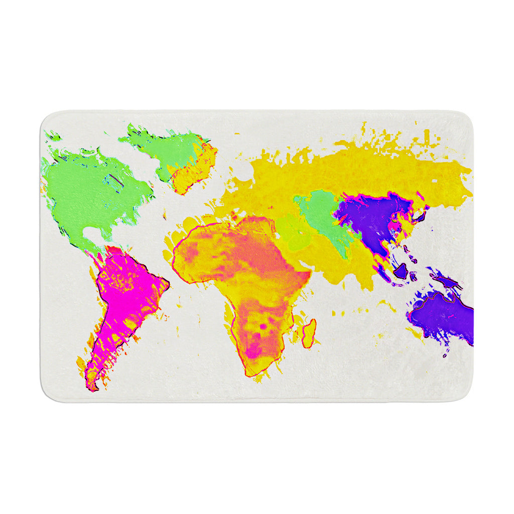 "Oriana Cordero ""My World"" Rainbow Map Memory Foam Bath Mat - KESS InHouse"