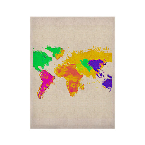 "Oriana Cordero ""My World"" Rainbow Map KESS Naturals Canvas (Frame not Included) - KESS InHouse  - 1"