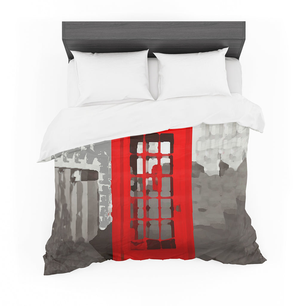 "Oriana Cordero ""London"" Red Gray Featherweight Duvet Cover"