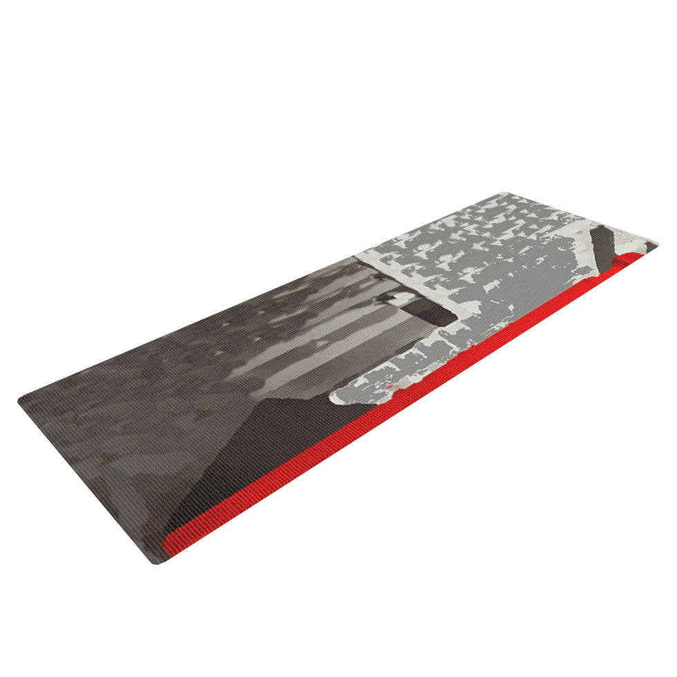 "Oriana Cordero ""London"" Red Gray Yoga Mat - KESS InHouse  - 1"