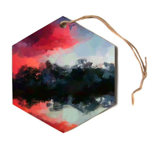 "Oriana Cordero ""Montserrat"" Pink Black Hexagon Holiday Ornament"