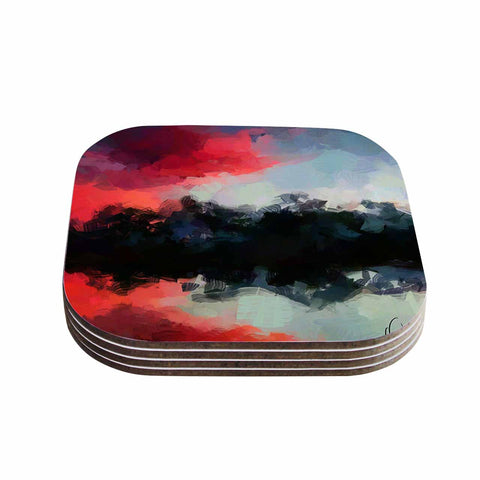 "Oriana Cordero ""Montserrat"" Pink Black Coasters (Set of 4)"