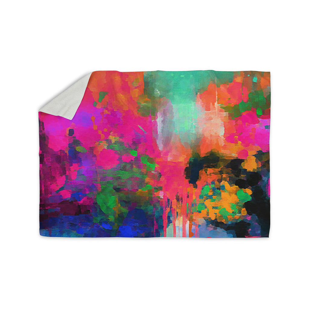"Oriana Cordero ""Montesilvano-Abstract"" Rainbow Painting Sherpa Blanket - KESS InHouse  - 1"