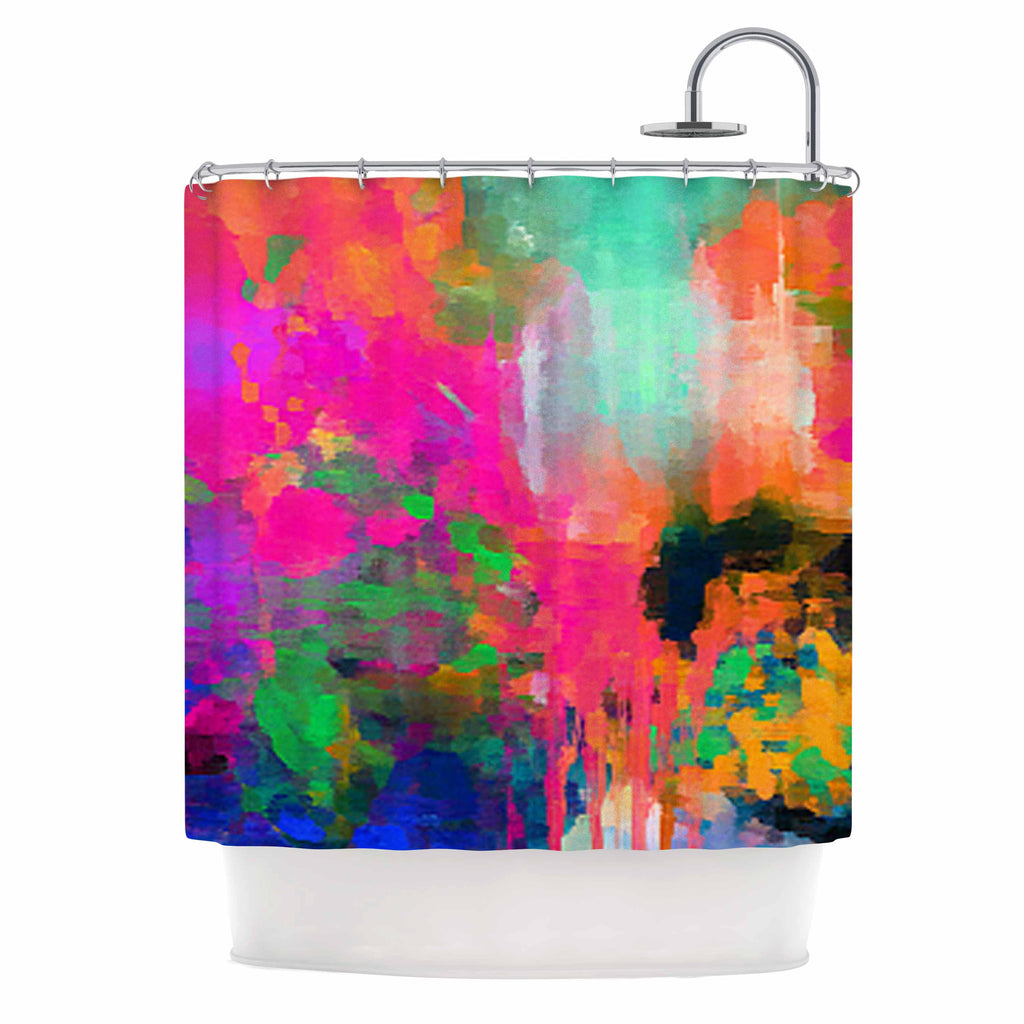 "Oriana Cordero ""Montesilvano-Abstract"" Rainbow Painting Shower Curtain - KESS InHouse"