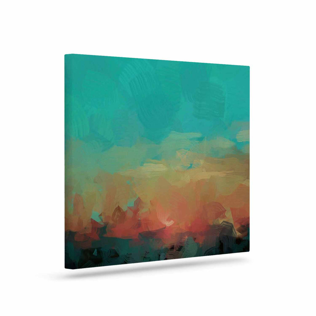 "Oriana Cordero ""Martinique"" Orange Teal Canvas Art - KESS InHouse  - 1"