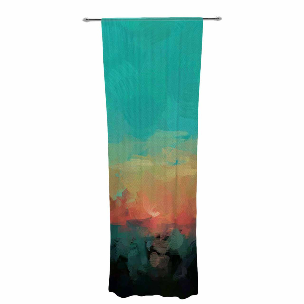 "Oriana Cordero ""Martinique"" Orange Teal Decorative Sheer Curtain - KESS InHouse  - 1"