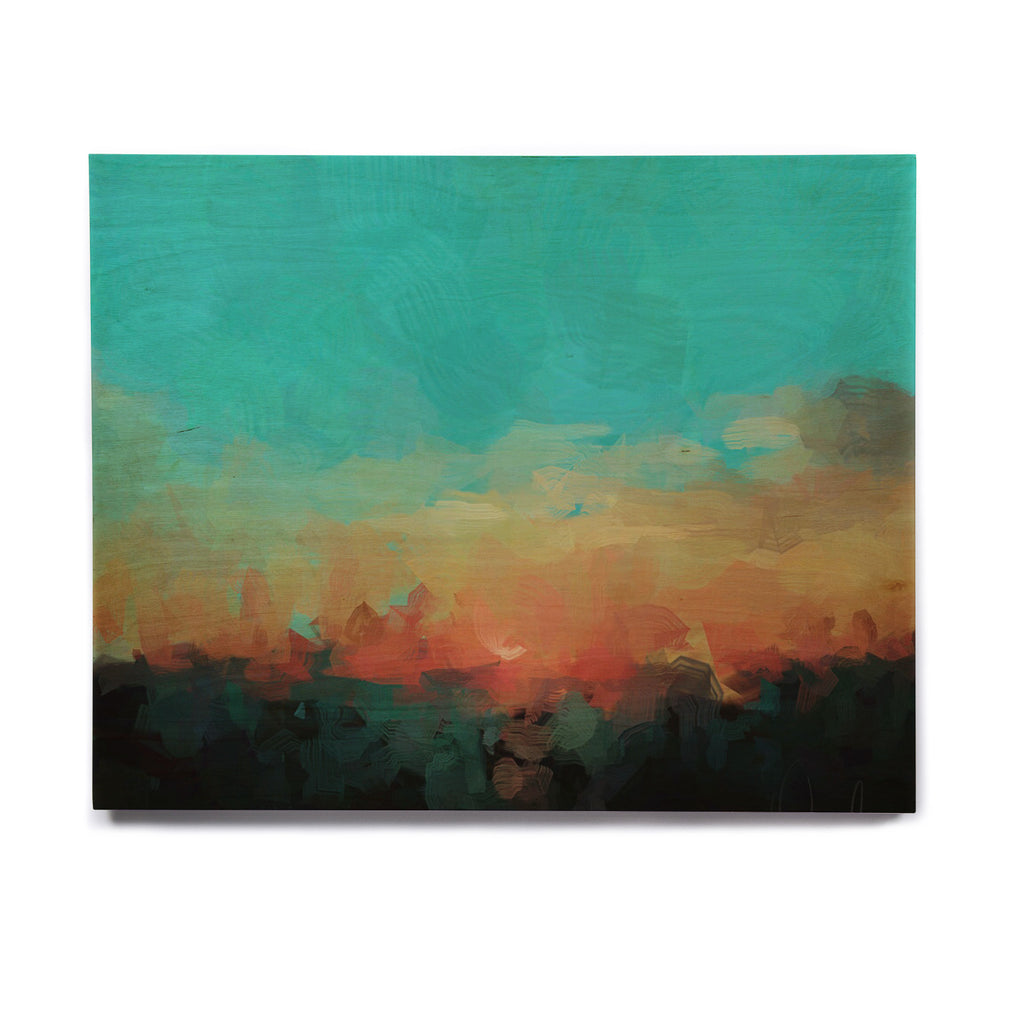 "Oriana Cordero ""Martinique"" Orange Teal Birchwood Wall Art - KESS InHouse  - 1"