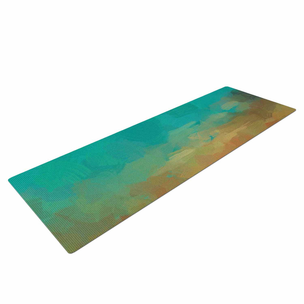 "Oriana Cordero ""Martinique"" Orange Teal Yoga Mat - KESS InHouse  - 1"