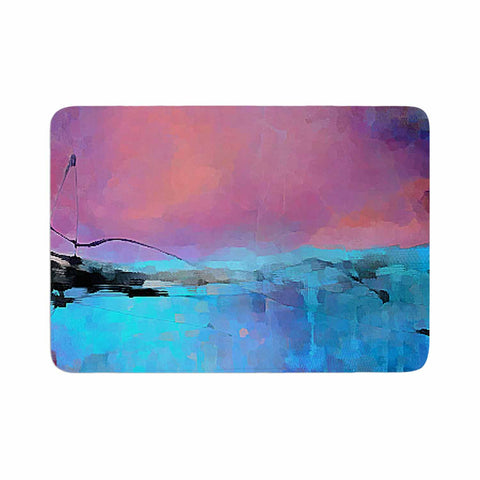 "Oriana Cordero ""Versailles-Abstract"" Pink Blue Memory Foam Bath Mat - KESS InHouse"