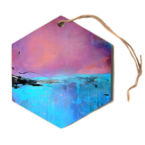 "Oriana Cordero ""Versailles-Abstract"" Pink Blue Hexagon Holiday Ornament"