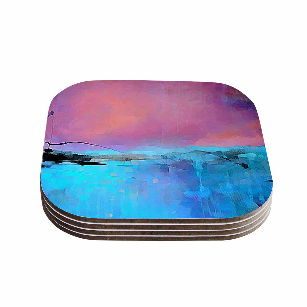 "Oriana Cordero ""Versailles-Abstract"" Pink Blue Coasters (Set of 4)"