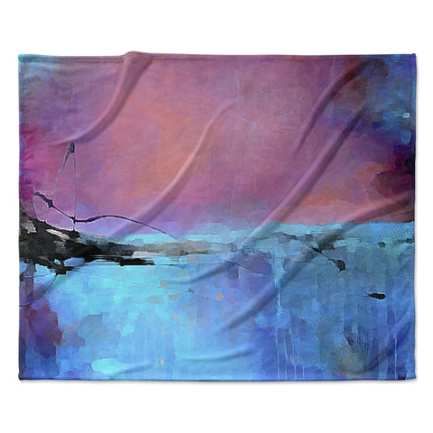 "Oriana Cordero ""Versailles-Abstract"" Pink Blue Fleece Throw Blanket"