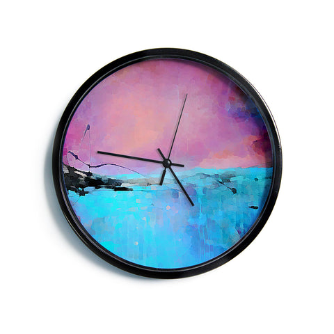 "Oriana Cordero ""Versailles-Abstract"" Pink Blue Modern Wall Clock"