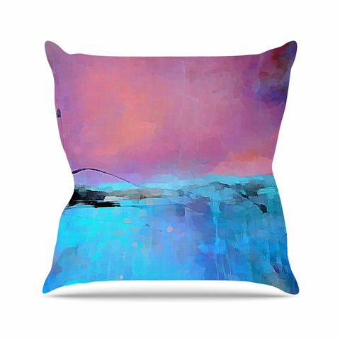 "Oriana Cordero ""Versailles-Abstract"" Pink Blue Outdoor Throw Pillow - KESS InHouse  - 1"