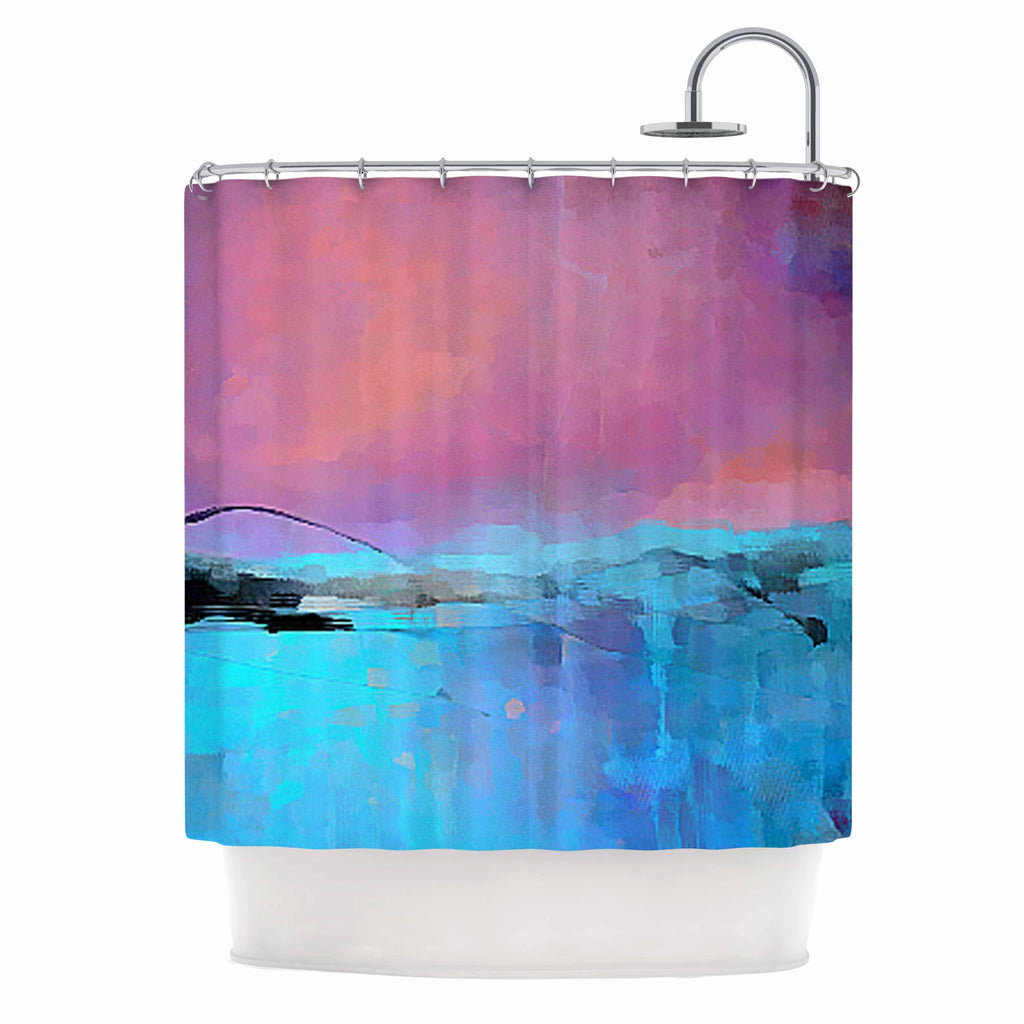 "Oriana Cordero ""Versailles-Abstract"" Pink Blue Shower Curtain - KESS InHouse"