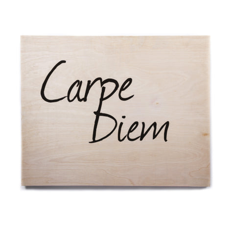 "Oriana Cordero ""Carpe Diem"" Black White Birchwood Wall Art - Outlet Item"