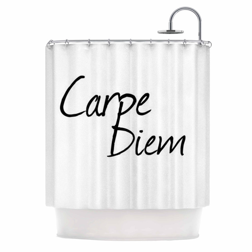 "Oriana Cordero ""Carpe Diem"" Black White Shower Curtain - KESS InHouse"
