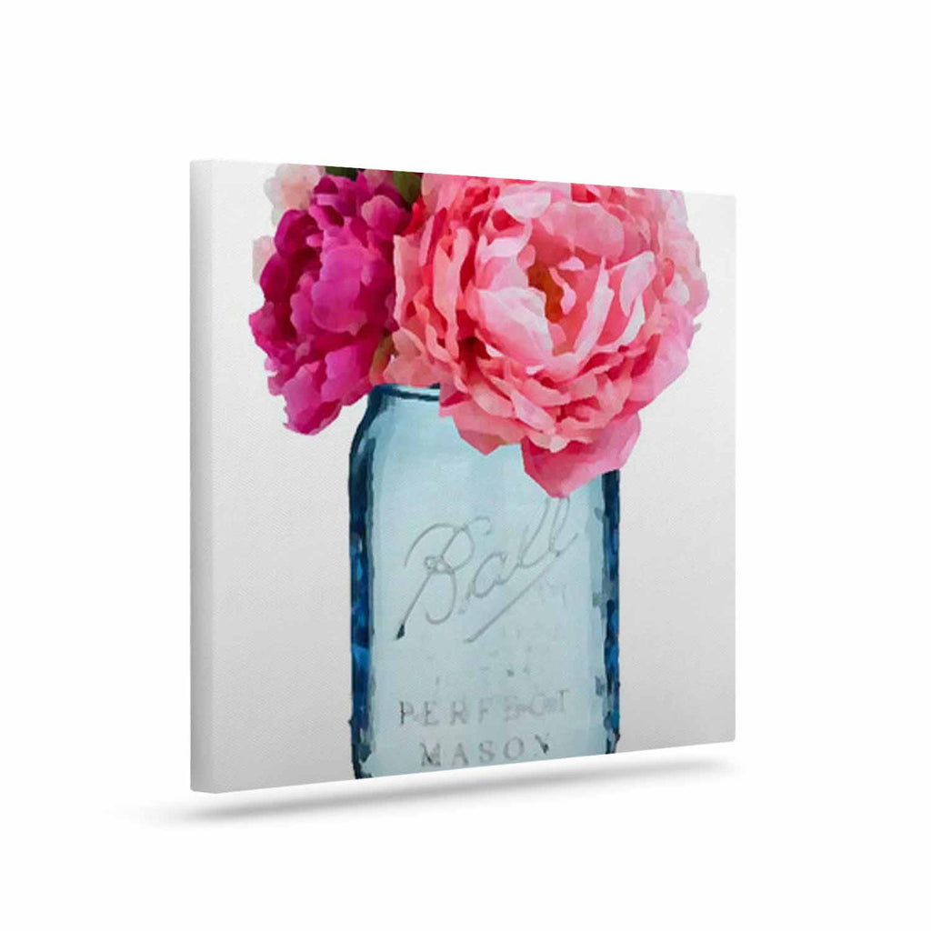 "Oriana Cordero ""Perfect Mason"" Blue Pink Canvas Art - KESS InHouse  - 1"