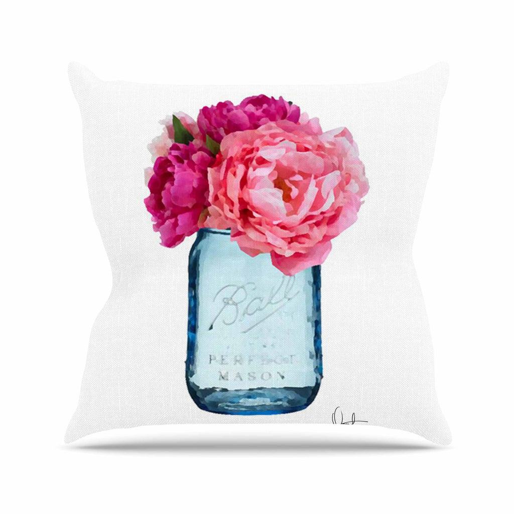 "Oriana Cordero ""Perfect Mason"" Blue Pink Outdoor Throw Pillow - KESS InHouse  - 1"