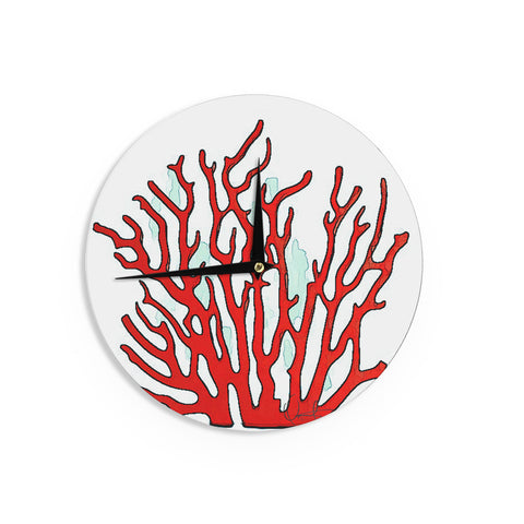 "Oriana Cordero ""Red Coral"" White Red Wall Clock - KESS InHouse"