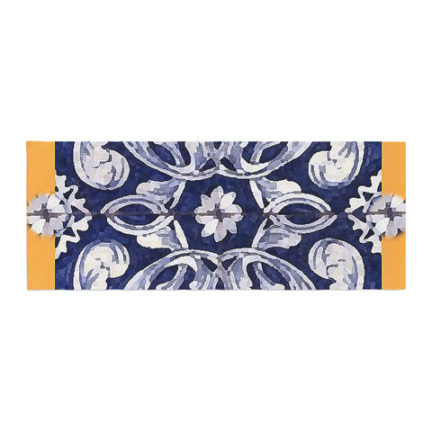 "Oriana Cordero ""Lisboa"" Blue Yellow Bed Runner - KESS InHouse"