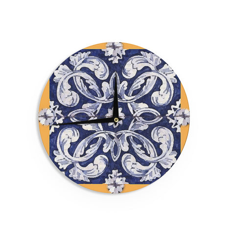 "Oriana Cordero ""Lisboa"" Blue Yellow Wall Clock - KESS InHouse"