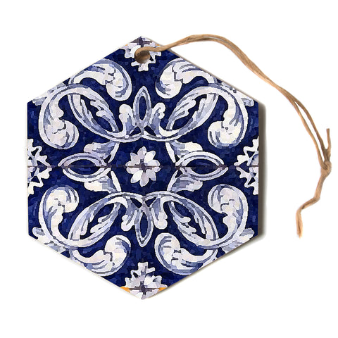 "Oriana Cordero ""Lisboa"" Blue Yellow Hexagon Holiday Ornament"