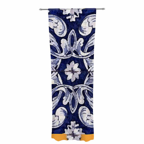 "Oriana Cordero ""Lisboa"" Blue Yellow Decorative Sheer Curtain - KESS InHouse  - 1"
