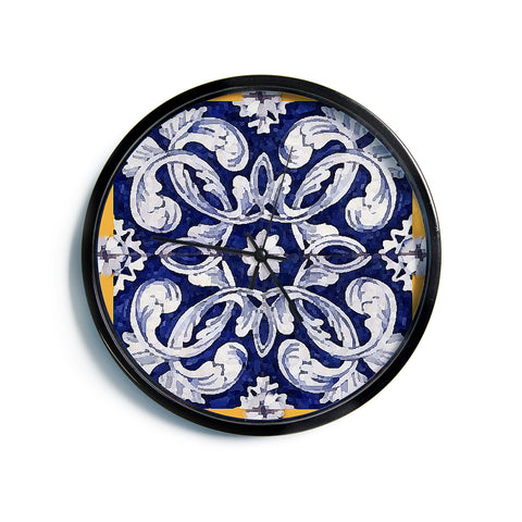 "Oriana Cordero ""Lisboa"" Blue Yellow Modern Wall Clock"