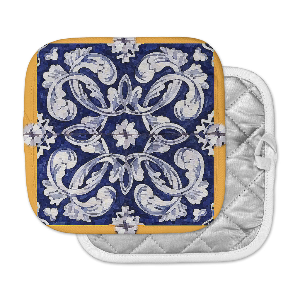 "Oriana Cordero ""Lisboa"" Blue Yellow Pot Holder"