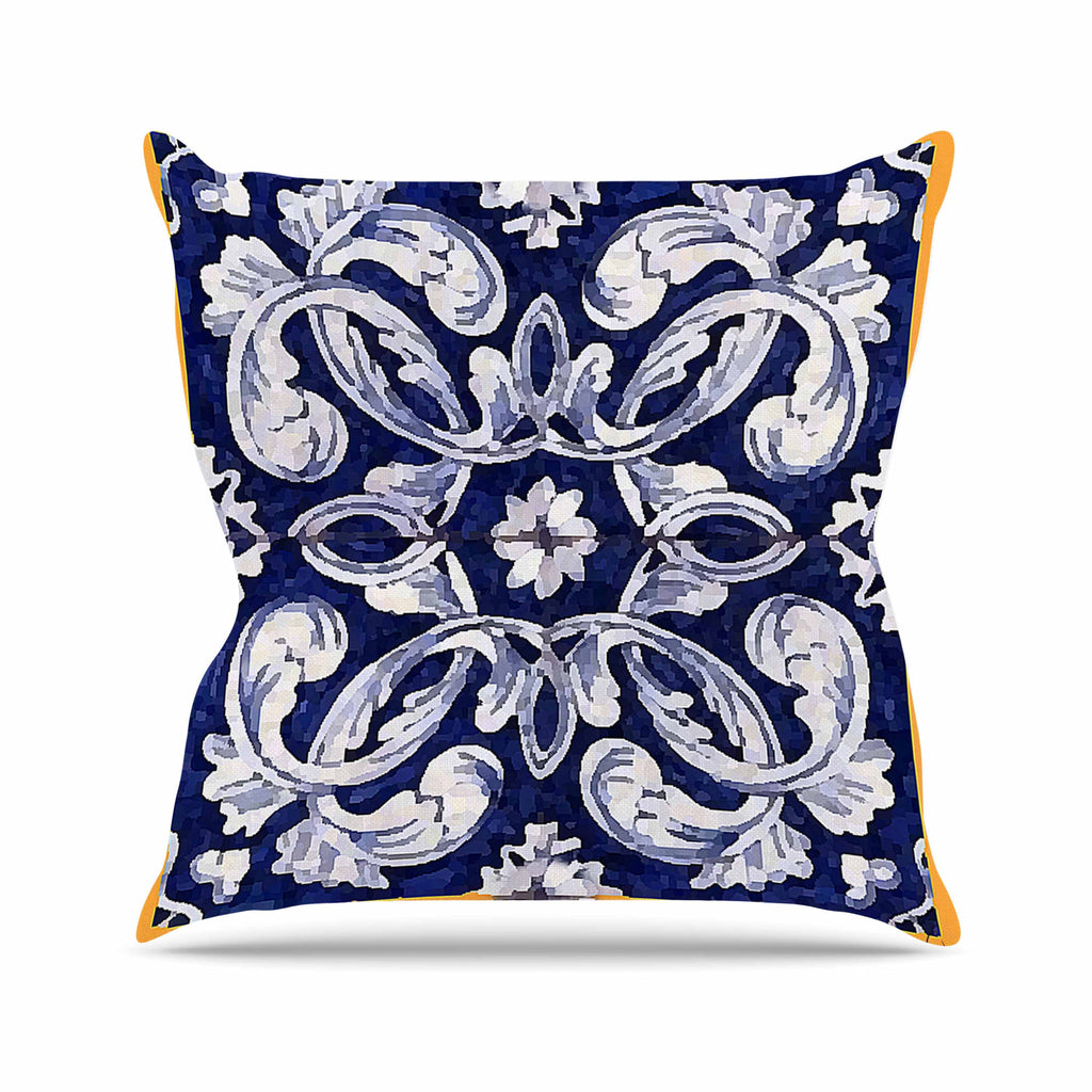 "Oriana Cordero ""Lisboa"" Blue Yellow Throw Pillow - KESS InHouse  - 1"