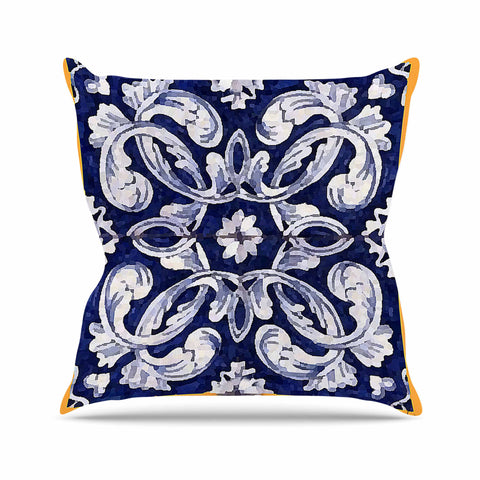 "Oriana Cordero ""Lisboa"" Blue Yellow Outdoor Throw Pillow - KESS InHouse  - 1"