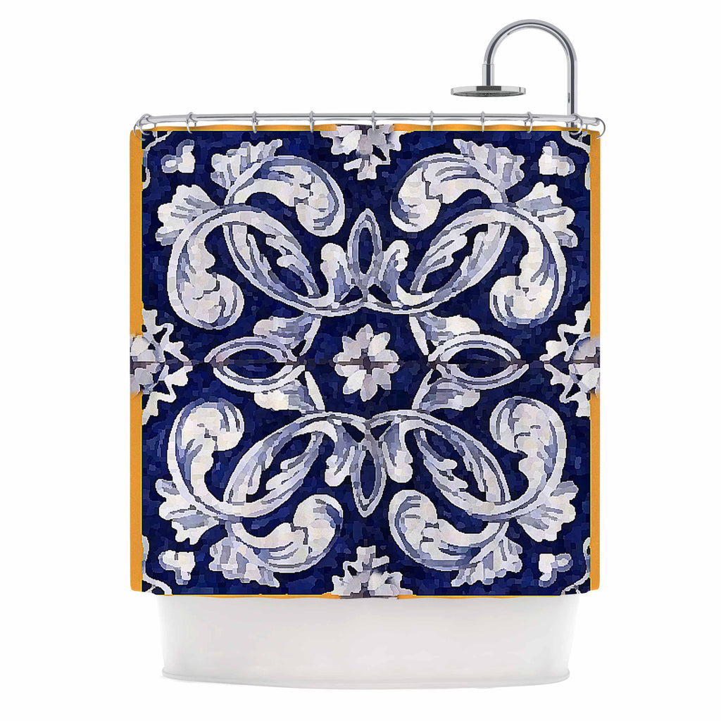 "Oriana Cordero ""Lisboa"" Blue Yellow Shower Curtain - KESS InHouse"