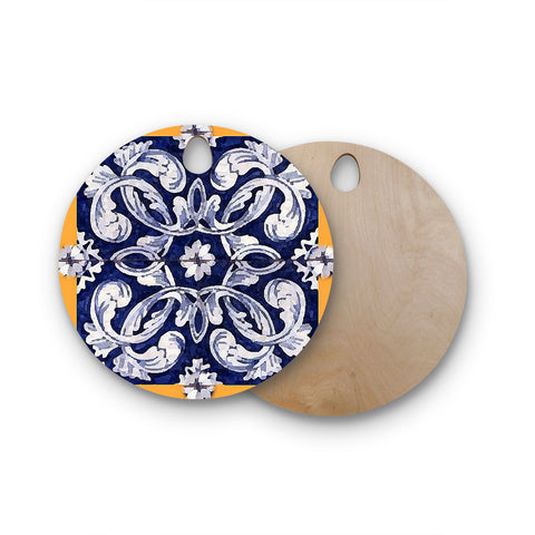 "Oriana Cordero ""Lisboa"" Blue Yellow Round Wooden Cutting Board"