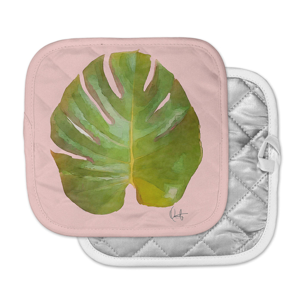 "Oriana Cordero  ""Tropico"" Pink Green Pot Holder"