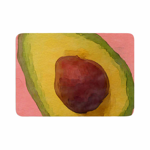 "Oriana Cordero  ""Avocado For Lola"" Green Pink Memory Foam Bath Mat - KESS InHouse"