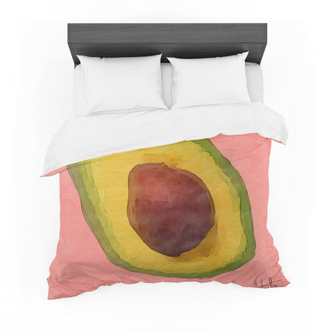 "Oriana Cordero  ""Avocado For Lola"" Green Pink Featherweight Duvet Cover"