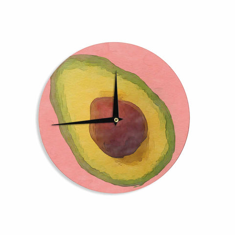 "Oriana Cordero  ""Avocado For Lola"" Green Pink Wall Clock - KESS InHouse"