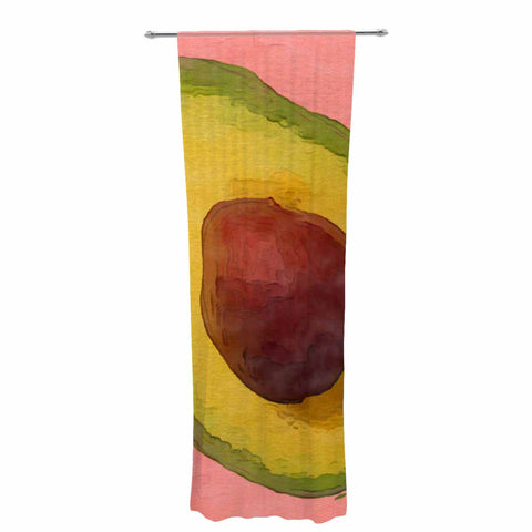 "Oriana Cordero  ""Avocado For Lola"" Green Pink Decorative Sheer Curtain - KESS InHouse  - 1"