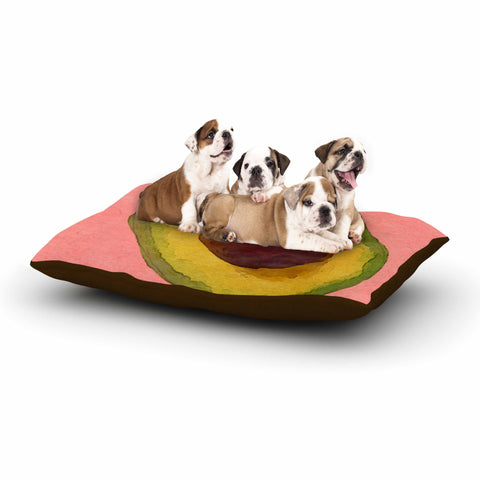 "Oriana Cordero  ""Avocado For Lola"" Green Pink Dog Bed - KESS InHouse  - 1"