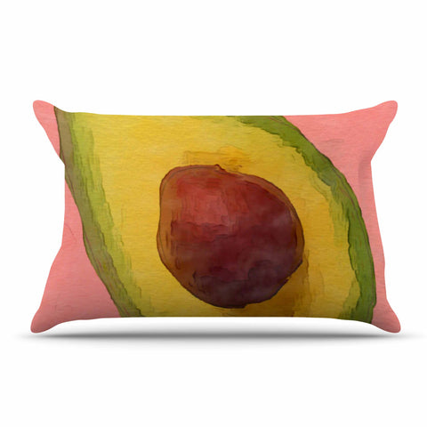 "Oriana Cordero  ""Avocado For Lola"" Green Pink Pillow Sham - KESS InHouse  - 1"