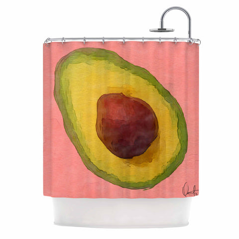 "Oriana Cordero  ""Avocado For Lola"" Green Pink Shower Curtain - KESS InHouse"