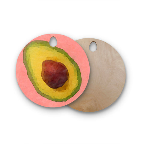 "Oriana Cordero ""Avocado For Lola"" Round Wooden Cutting Board"
